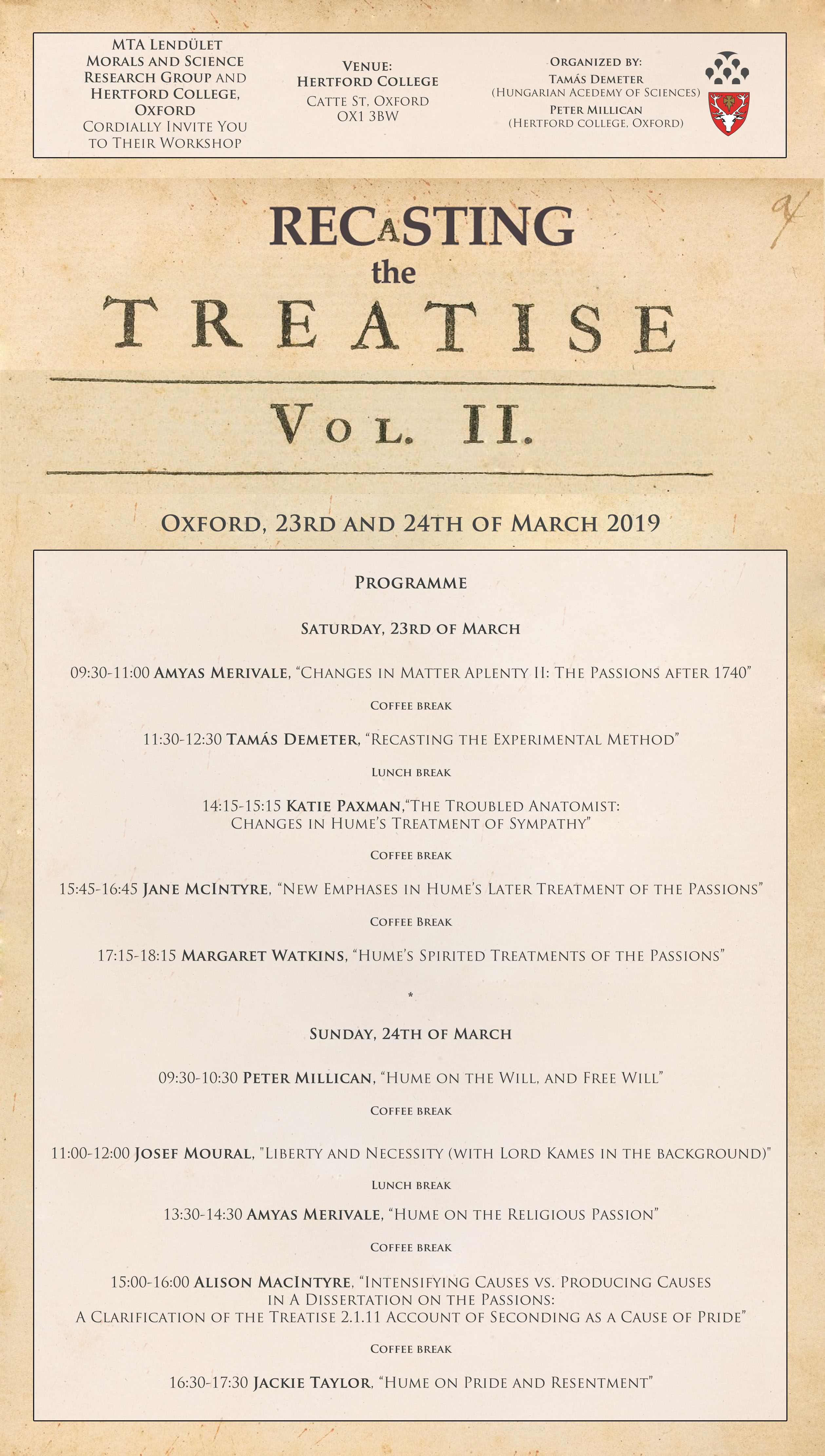 hume texts online  the enquiry concerning human understanding and relevant essays the  second workshop will be held at hertford college oxford on the rd th  of march